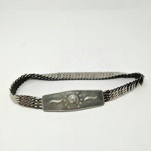 Vtg Tin Metal SIlver Fish Scale Stretch Belt